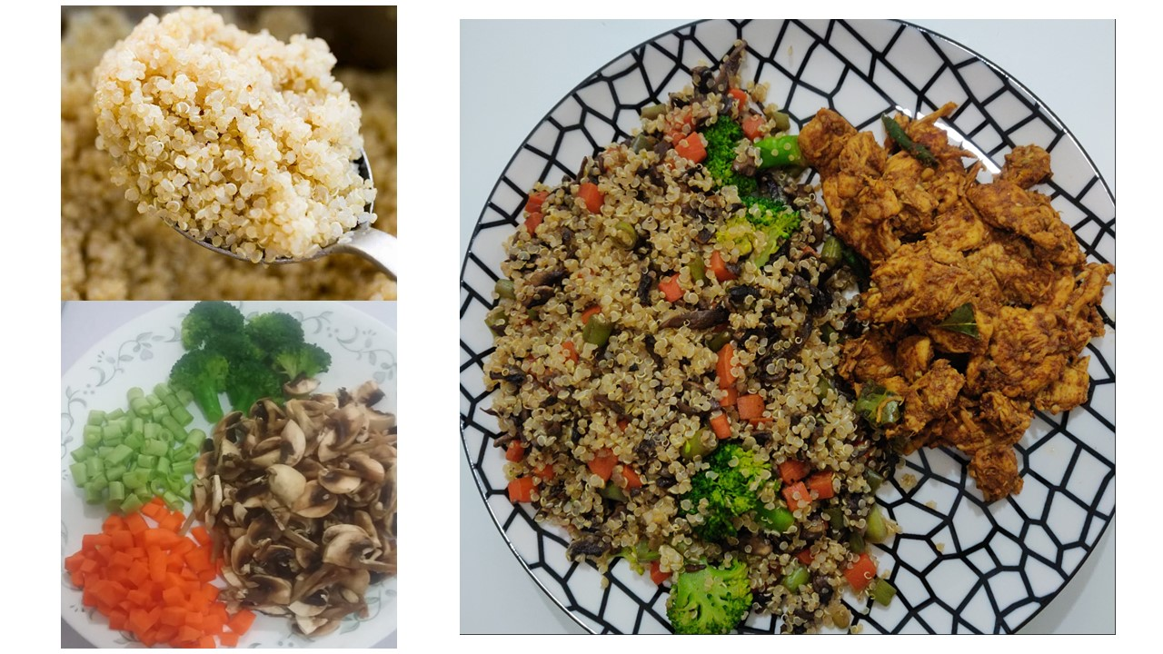Quinoa Salad with chicken pepper fry